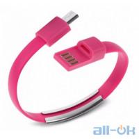 USB- microUSB браслет Pink