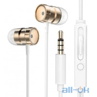 Наушники Rock In-Ear Metal Earphones Stereo Headset Gold