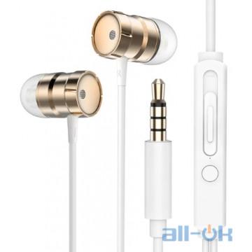 Наушники Rock In-Ear Metal Earphones Stereo Headset Gold