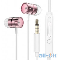 Наушники Rock In-Ear Metal Earphones Stereo Headset Rose