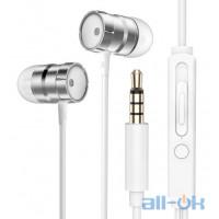 Наушники Rock In-Ear Metal Earphones Stereo Headset Silver