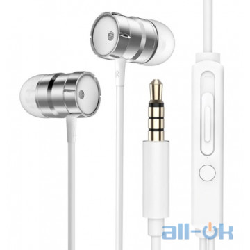 Наушники Rock In-Ear Metal Earphones Stereo Headset Silver