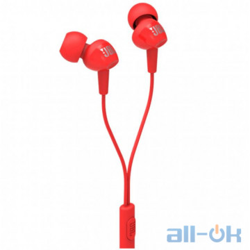 Наушники JBL C100SI 3.5mm Wired In-ear earphones Stereo Music Red