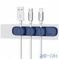 Baseus Magnetic Cable Organizer Blue с 3мя клипсами