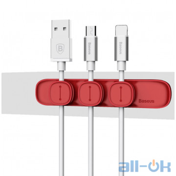 Baseus Magnetic Cable Organizer Red с 3мя клипсами