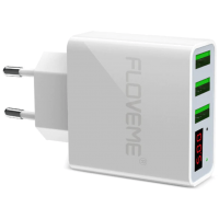 FLOVEME LED Digital 3 Ports USB Charger White