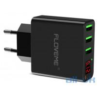 FLOVEME LED Digital 3 Ports USB Charger Black