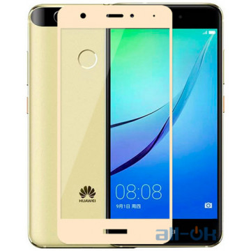 Захисне скло для Huawei Nova з рамкою Gold