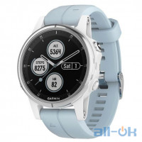 Garmin fenix 5S Plus Glass,Wht w/Sea Foam Bnd (010-01987-23)