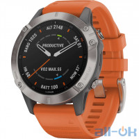 Garmin Fenix 6 Pro Sapphire Titanium with Ember Orange Band (010-02158-13)