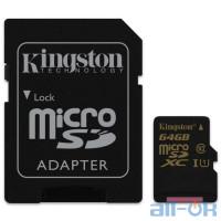Карта пам'яті Kingston 64 GB microSDXC Class 10 UHS-I Canvas Select + SD Adapter SDCS/64GB