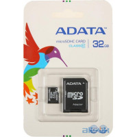 Карта памяти ADATA 32 GB microSDHC UHS-I + SD adapter Premier AUSDH32GUICL10-RA1