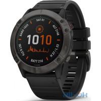 Спортивний годинник  Garmin Fenix 6X Pro Solar Titanium Carbon Grey DLC with Black Band (010-02157-21)