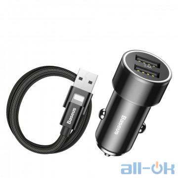 Автомобільний зарядний пристрій  Baseus Car Charger Small Screw Series 2USB 3.4A + Lightning Cable Black (TZXLD-A01)