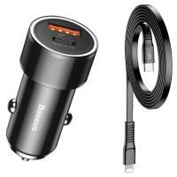 Автомобильное зарядное устройство Baseus Small Screw Type-C PD + USB Black w/Type-C - Lightning Cable (TZXLD-01)