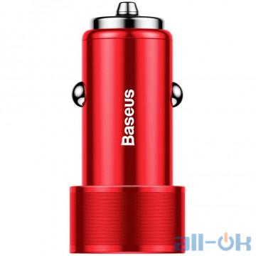 Автомобильное зарядное устройство Baseus USB Car Charger Small Screw USB 3.0+USB-C 36W Red (CAXLD-A09) UA UCRF