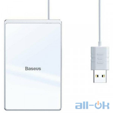 Беспроводное зарядное устройство Baseus Card Ultra-Thin 15W Wireless Charger Silver+White (WX01B-S2) UA UCRF