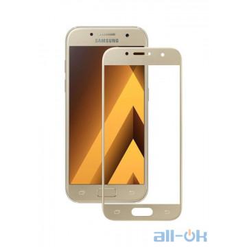 Защитное стекло для Samsung J530 с рамкой Gold