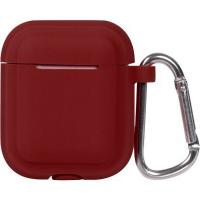 Кейс TOTO Plain Cover With Stripe Style Case AirPods Wine Red