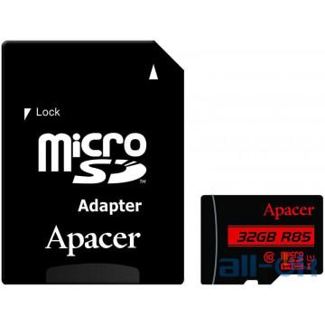 Карта памяти Apacer 32 GB microSDHC Class 10 UHS-I R85 + SD adapter AP32GMCSH10U5-R