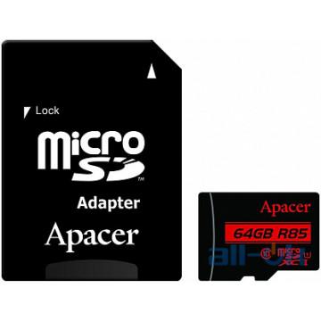 Карта памяти Apacer 64 GB microSDXC Class 10 UHS-I R85 + SD adapter AP64GMCSX10U5-R