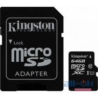Карта пам'яті  Kingston 64 GB microSDXC Class 10 UHS-I Canvas Select + SD Adapter SDCS/64GB