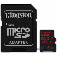 Карта пам'яті  Kingston 64 GB microSDXC class 10 UHS-I U3 + SD Adapter SDCA3/64GB