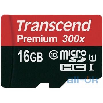 Карта памяти Transcend microSDXC/SDHC Class 10 UHS-I 400x SD adapter 16Gb