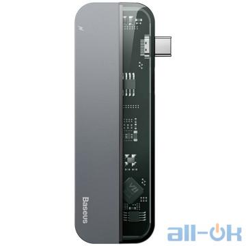 Мультипортовый адаптер HUB Baseus Transparent Series Type-C Multifunctional HUB Adapter Deep Gray (CAHUB-TD0G)