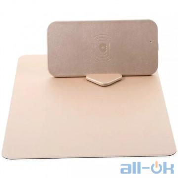 Коврик для мыши с беспроводной зарядкой WUW C54 Qi 5W gold