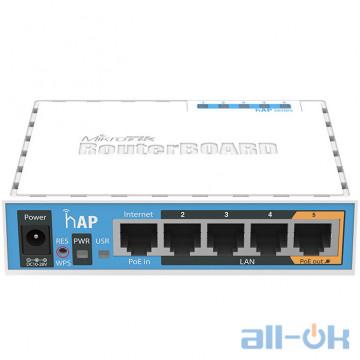 Беспроводной маршрутизатор (роутер) Mikrotik hAP (RB951Ui-2ND) UA UCRF