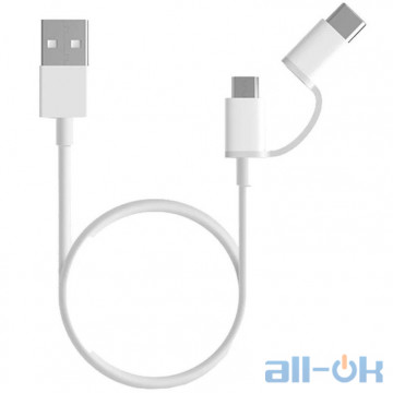 Кабель Xiaomi Mi 2in1 USB Micro/Type-C 1m White