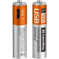 Аккумулятор (microUSB разъем) ColorWay AAA 400mAh Li-Pol 2шт USB (CW-UBAAA-01)