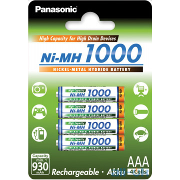 Аккумулятор Panasonic High Capacity AAA/HR03 Ni-Mh 1000 mAh BL 4 шт BK-4HGAE/4BE