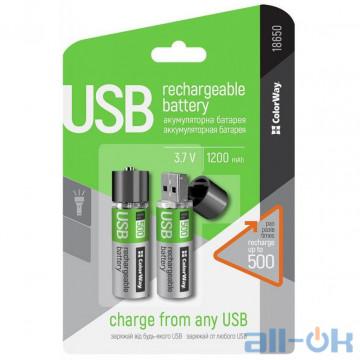 Аккумулятор (USB разъем) ColorWay 18650 1200mAh Li-Pol 2шт USB (CW-UB18650-03)