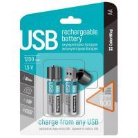 Аккумулятор (USB разъем) ColorWay AA 1200mAh Li-Pol 2шт USB (CW-UBAA-02)