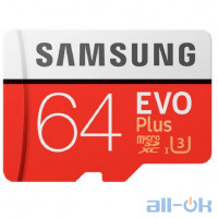 Карта пам'яті Samsung 64 GB microSDXC Class 10 UHS-I EVO Plus + SD Adapter MB-MC64HA