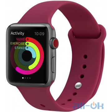 Ремешок UWatch Silicone Strap для Apple Watch 38/40 mm Rose Red