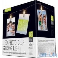 Лінійна гірлянда ColorWay 30 LED 4.5м, с прищіпками для фото (CW-LCP-30L45B)