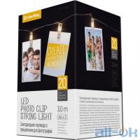 Лінійна гірлянда ColorWay 20 LED, 3м, с прищепками для фото (CW-LCP-20L30B)