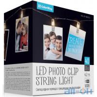 Лінійна гірлянда ColorWay 40 LED 4.2м, с прищiпками для фото (CW-LCP-40L42BU)