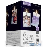 Линейная гирлянда ColorWay 20 LED, 3м, с прищепками для фото (CW-LCP-20L30BU)