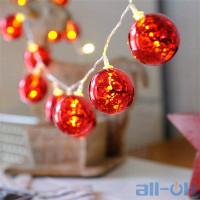 Лінійна гірлянда ColorWay Christmas lights ball 6 см 10 LED 1.5 м USB Red (CW-MC-LB10U)