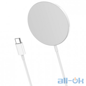 Беспроводное зарядное устройство HOCO Magnetic Wireless Fast Charger CW29 White