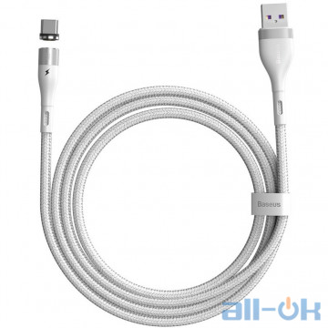 Кабель BASEUS Type-C Zinc Magnetic Safe Fast Charging Data Cable 5A (CATXC-N02) White