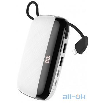Внешний аккумулятор (Power Bank) HOCO Nimble with LCD Built-In Lightning Cable S29 White