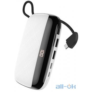 Внешний аккумулятор (Power Bank) HOCO Nimble with LCD Built-In Micro USB Cable S29 White