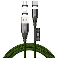 Кабель JOYROOM Combo Lightning+Micro USB+Type-C Magnetic Series 3in1 S-M408 Green