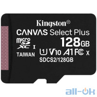 Карта пам'яті Kingston 128 GB microSDXC Class 10 UHS-I Canvas Select Plus SDCS2/128GBSP