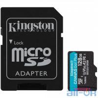Карта пам'яті Kingston 128 GB microSDXC Class 10 UHS-I U3 Canvas Go! Plus + SD Adapter SDCG3/128GB